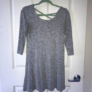 Olivia Rae Gray Cross Back A-Line Mini Dress M
